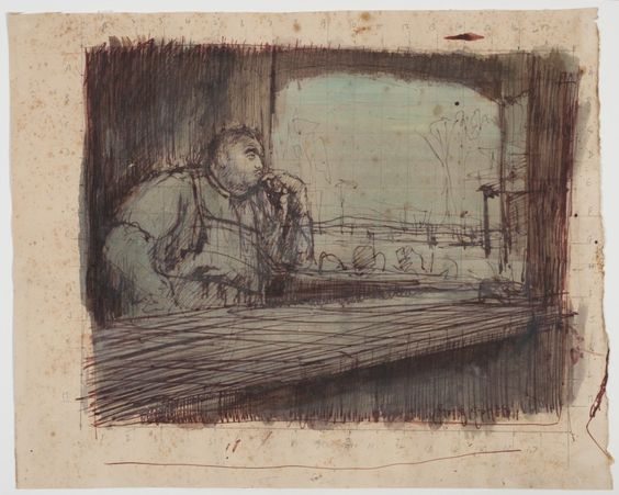 "Russell Drysdale (1912−1981) Bar Room Figure [Study for ""Joe"""