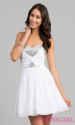 I love this Short Strapless Dress with Sequin Bodice by B Darlin ...