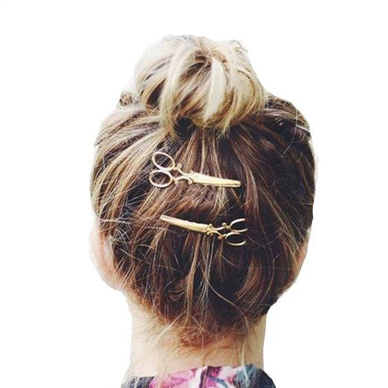 Hair Accessories Scissor Shaped Women Shiny Golden Silver Hair Clips For Girls Hairpins Apparel Accessories Headpiece Headdress