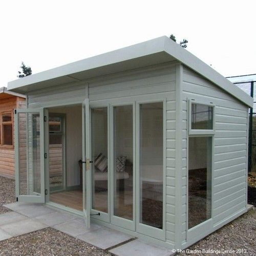Pool houses backyards and folding doors on pinterest for Outside office shed