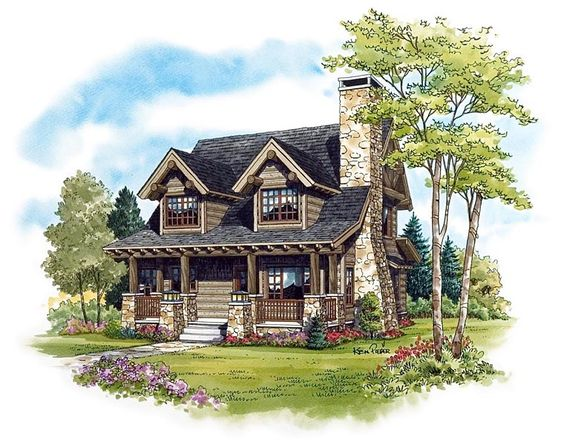 Cabin craftsman log house plan 43212 house plans for Log and stone house plans
