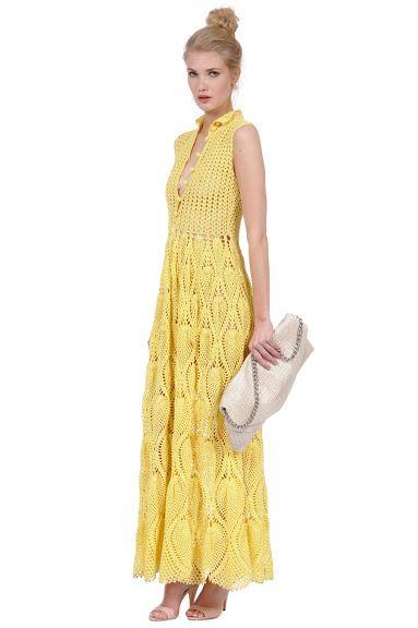 Outstanding Crochet: Crochet Yellow Maxi Dress from Foley + Corinna