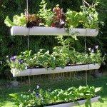 how to make a hanging gutter garden.