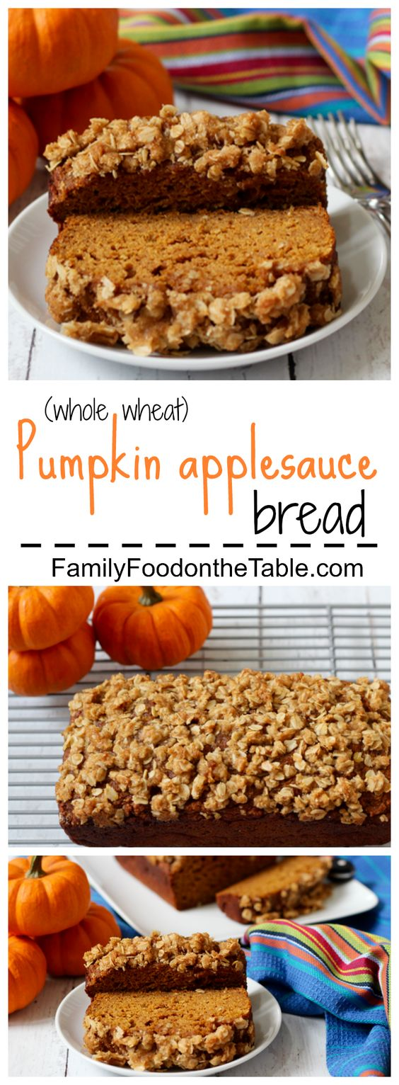 A light and healthy applesauce pumpkin bread with a crunchy streusel crust! | FamilyFoodontheTable.com
