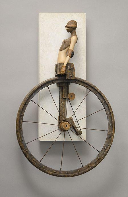 Unicycle - By John Morris (Wood, Paint, Metal)
