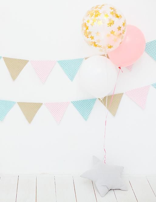 White Wall And Floor With Party Flag For Baby Birthday Photography