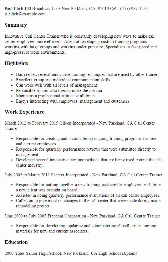 Create Charming Call Center Supervisor Resume With Perfect Structure Call Center Resume Format For Freshers Manager Resume