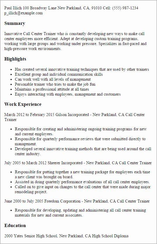 Call Center Customer Service Representative Resume Fresh Professional Call Center Trainer Templates To Showcase