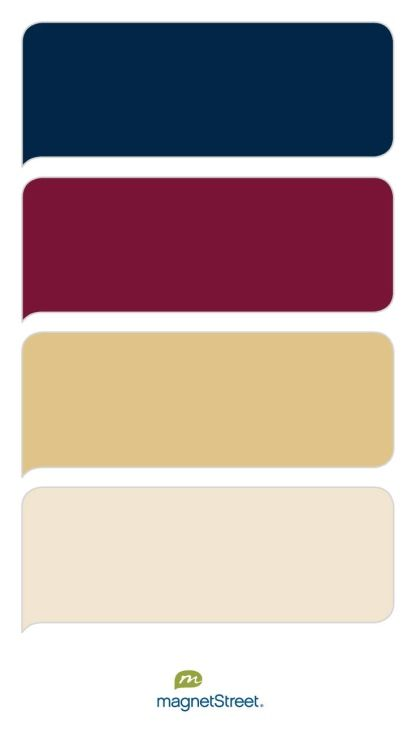 Navy, Custom Red, Gold, and Champagne Wedding Color Palette - custom color palette created at MagnetStreet.com
