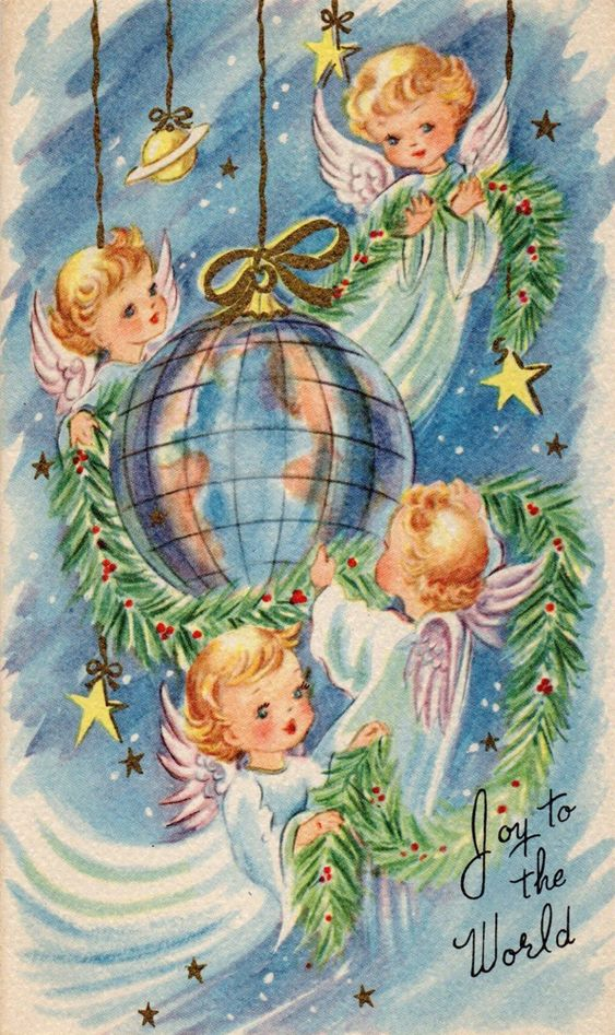 Joy to the World - vintage Christmas card angels: