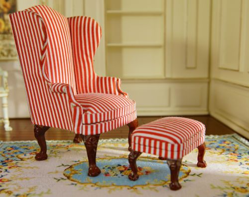 1 12 Dollhouse Furniture Fabric Sofa Chair Amp Ottoman Set Red Striped Lovely Chair And Ottoman Set Furniture Fabric Furniture