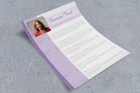 Purple CV Template - Resumes - 2 resume styles Pinterest Cv - resumes styles