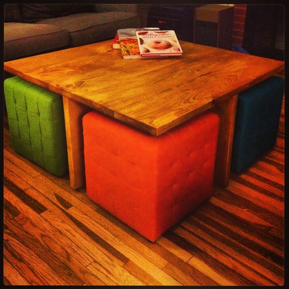 Ottoman Coffee Table With Sliding Wood Top: DIY Square Coffee Table With 4 Removable Ottomans