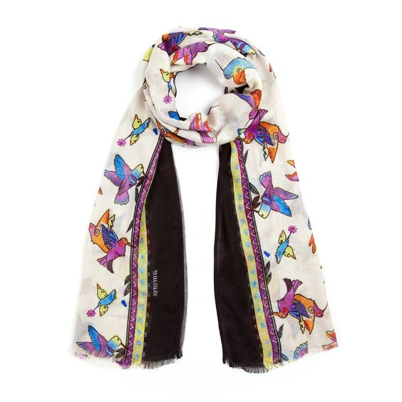 A hand-sketched hummingbird print and delicate eyelash fringe add a sweet touch to this scarf from JAMMU. Soft, lightweight and luxurious, this must-have accessory is sure to become a summer staple.
