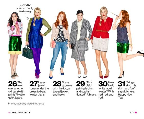 The Month in Outfits #4 ~ Glamour magazine, December 2012.