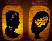 New Grungy Primitive Halloween Frankenstein & Bride Silhouette Lantern Set