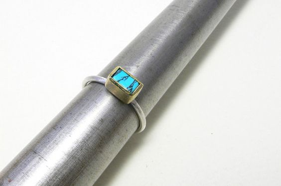 turquoise silver and brass ring by papermetal on Etsy, $85.00