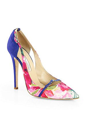 Oscar de la Renta Monse Floral-Print Pumps. Pink and red floral ...