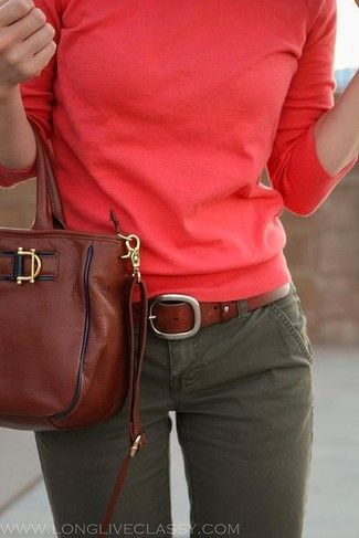 Women's Red Crew-neck Sweater, Brown Leather Tote Bag, Brown Leather Belt, and Olive Chinos