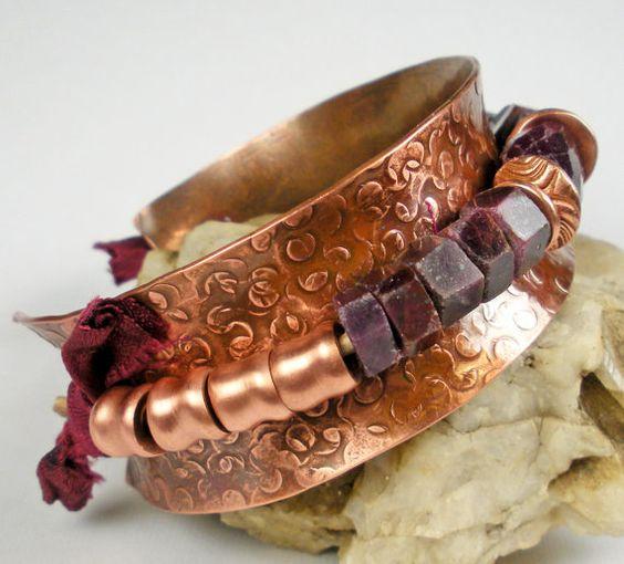 Ruby Cuff Bracelet Beaded Copper Bracelet Rustic by FebraRose