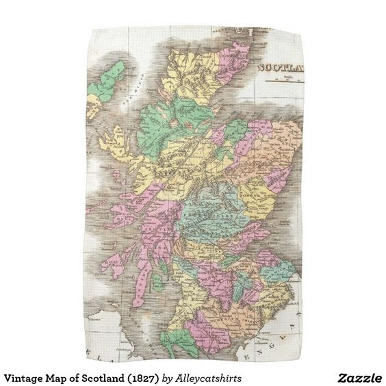 Vintage Map of Scotland (1827) Towels