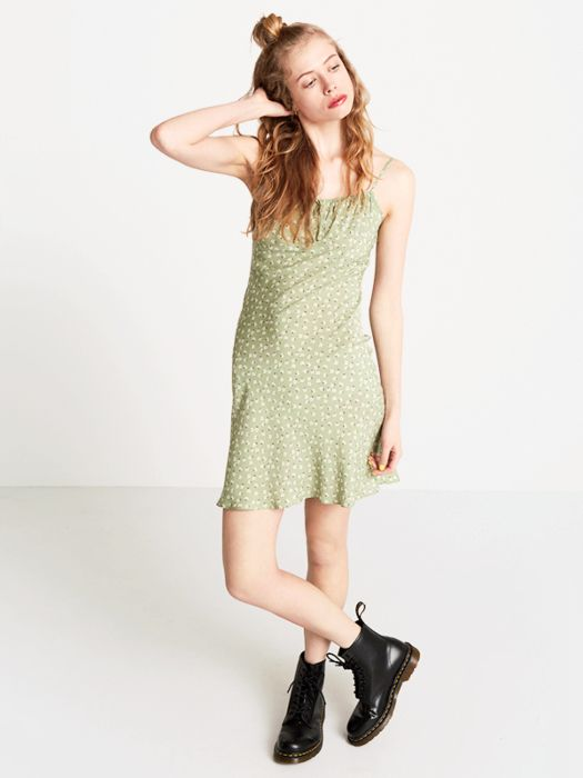Green Georgie Ditsy 90's Slip Dress