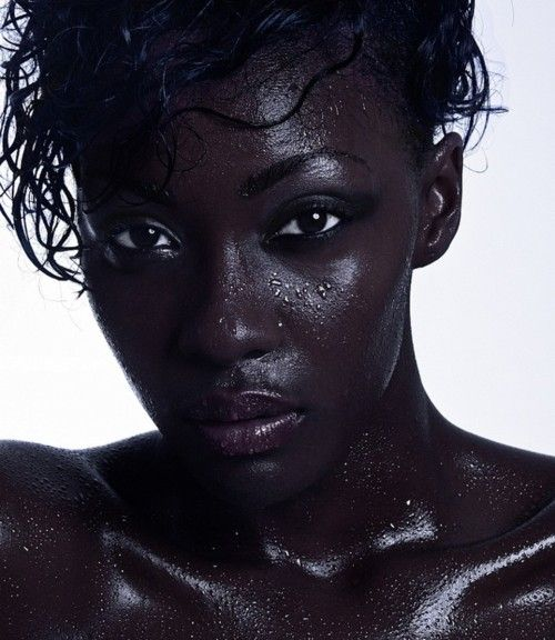 beautiful black woman wet dark shiny