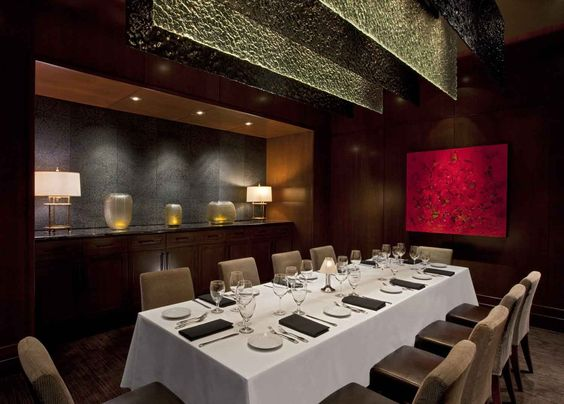 Stretched fabric acoustical wall panels in private dining area