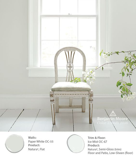Simple Elegance. Antique chairs can be beautiful design elements in any room, from the bedroom to the dining room. The subtlety of Benjamin Moore 'Paper White OC-55' on the walls allows for the chair to stand out. #ColorTrends2016