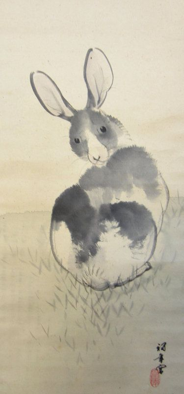 Rabbit Looking Back Scroll, Taisho Period signed