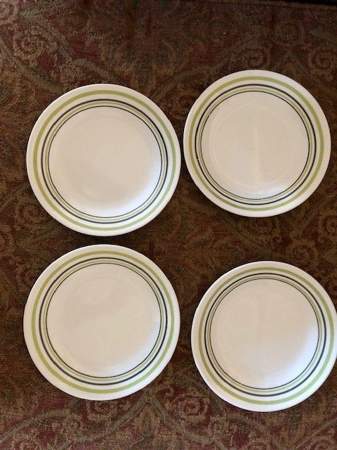4 Plates Beautiful Corelle Garden Sketch Bands About 7 Etsy Plates Corelle Small Plates