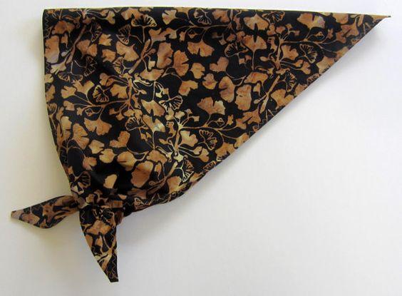 Ginkgo Head Scarf Kerchief Handmade Womens Triangle by BatikStudio, $10.00