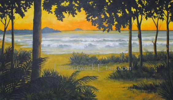 "Original Acrylic Painting 28 x 47  ""Sunset through the Trees"".   $2500.00"