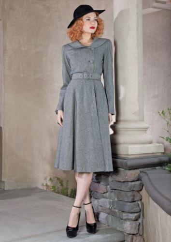 Stop Staring! Coat Vintage Inspired 1940s Dress Coat in Grey