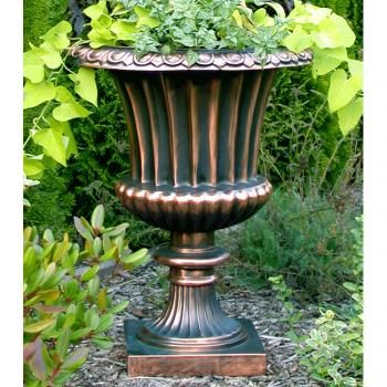 Fluted urn planter in traditional copperglass #planter #urn #pot #patio #garden