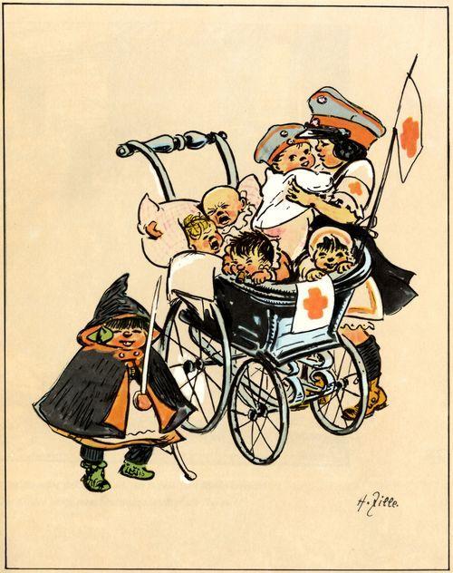 Zille, Heinrich: Rotes Kreuz  Entstehungsjahr:1914–1918 Technik:Aquarell