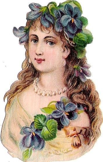 Oblaten Glanzbild scrap die cut chromo Blumen Kind flower child head girl buste: