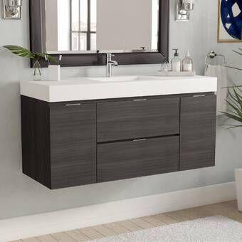 Tenafly 47 Wall Mounted Single Bathroom Vanity Set Modern Bathroom Modern Bathroom Vanity Single Bathroom Vanity