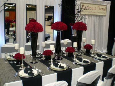 Red, White and Black Table Settings | Table settings, Reception and Weddings