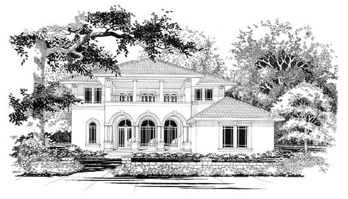 Spanish/Med. House Plan chp-17354 at COOLhouseplans.com