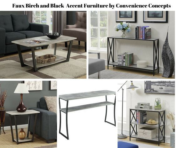 Faux Birch Black Frame Accent Furniture by Convenience Concepts