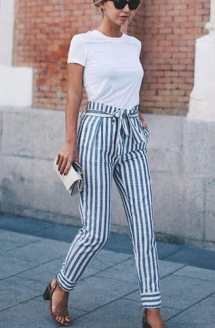 perfect blue and white striped pants with a white t for the fourth