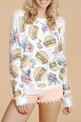 White Long Sleeve Hamburgers Print T-Shirt - Zooomberg