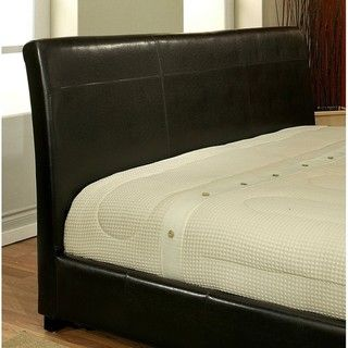 @Overstock - Materials: Faux leather, solid hardwood  Upholstery materials: Bi-cast faux leather  Upholstery color: Dark Brown  http://www.overstock.com/Home-Garden/Monaco-Dark-Brown-Bi-cast-Leather-King-size-Bed/6319004/product.html?CID=214117 $719.99