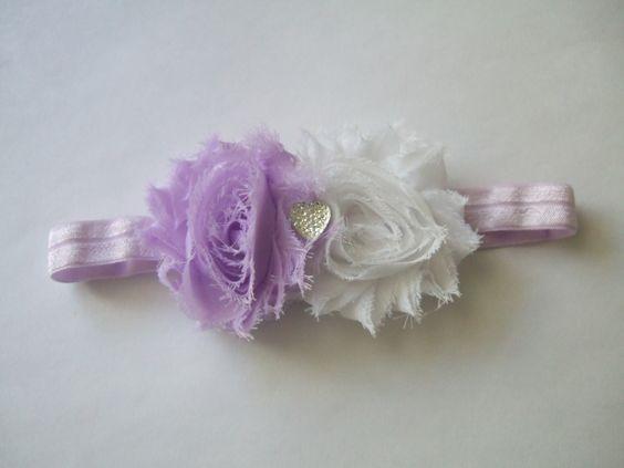 Shabby Flowers with Heart Rhinestone Headband- $7.50 www.facebook.com/justaboutbows