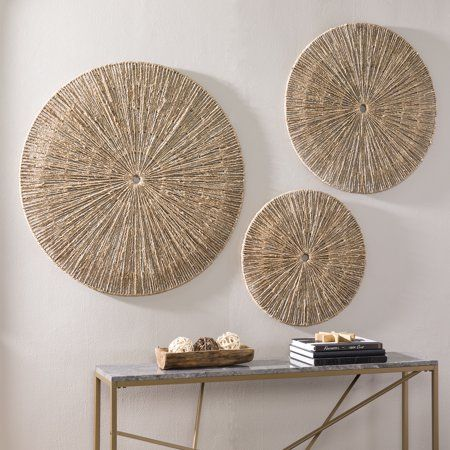 Dahlia Seagrass Wall Décor, 3pc Set, Eclectic, Natural