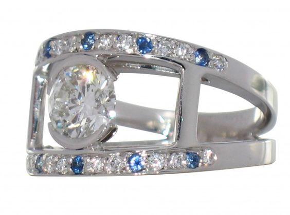 Bague Praha Joaillerie or blanc Diamant 1,50 carat pavage saphirs et diamants web