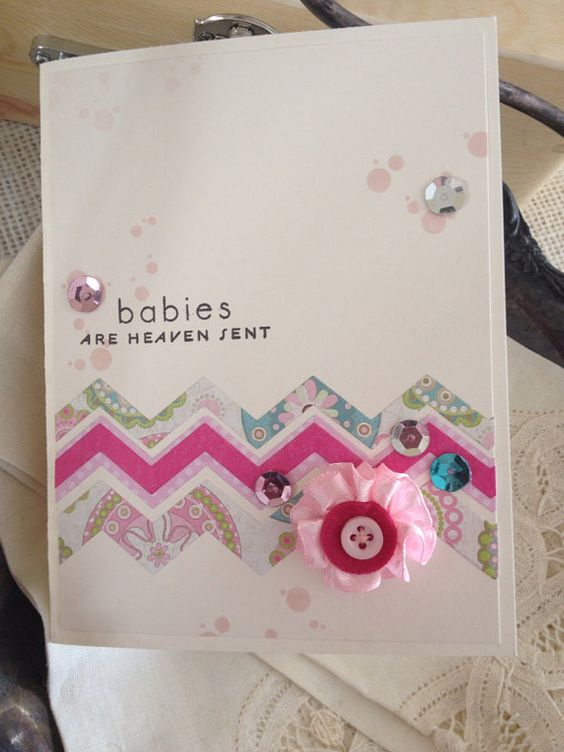 Baby Shower-Congrats-Quilting-Pink-Babies are Heaven Sent-Girly-Card on Etsy, $4.50