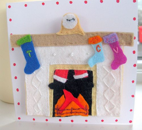 Christmas Card with Removable Felt Fireplace Ornament | Flickr - Photo Sharing!