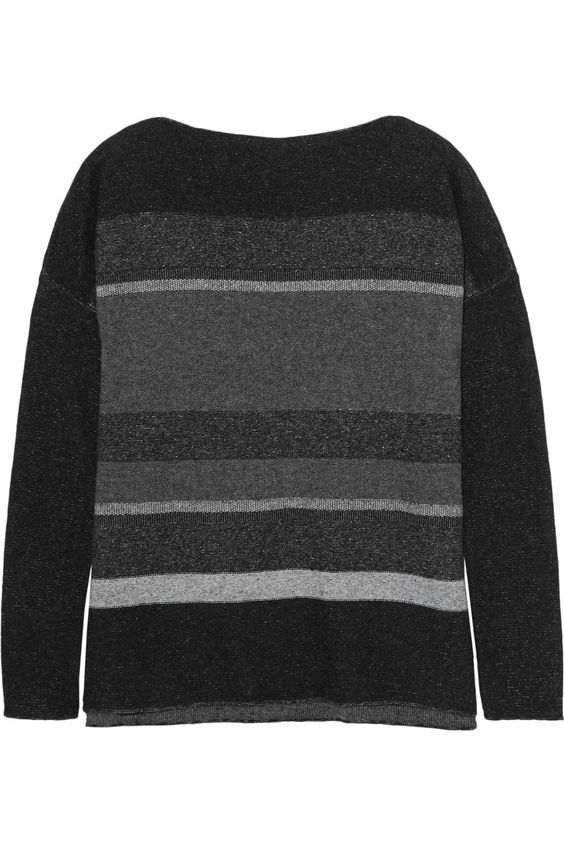 VINCE Striped Wool And Cashmere-Blend Sweater. #vince #cloth #sweater